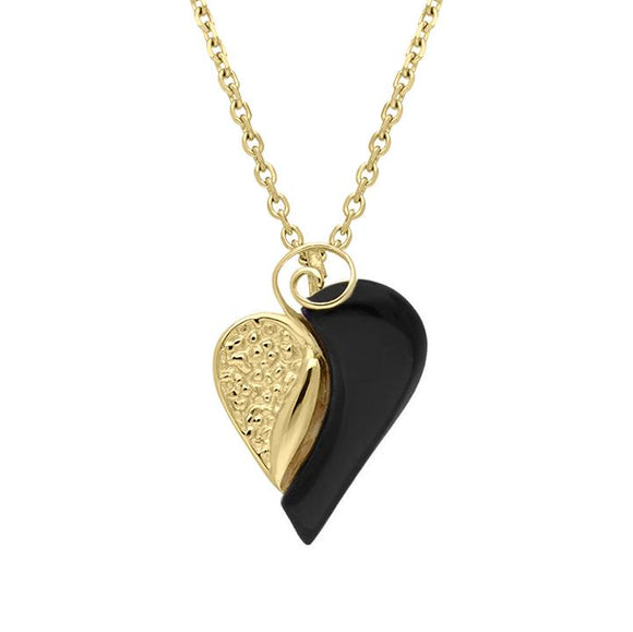 9ct Yellow Gold Whitby Jet Swirl Heart Necklace. P2483.