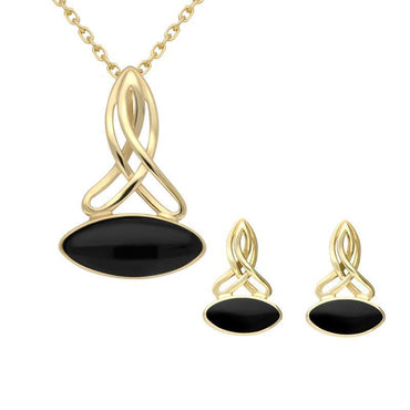 9ct Yellow Gold Whitby Jet Wide Marquise Celtic Two Piece Set