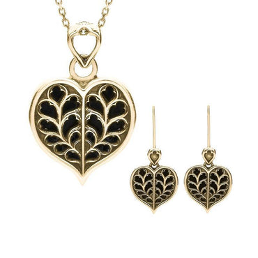 9ct Yellow Gold Whitby Jet York Minster Small Heart Two Piece Set