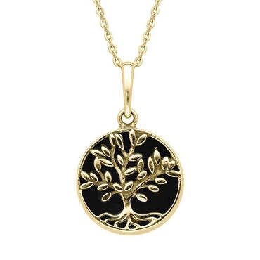 9ct Yellow Gold Whitby Jet Small Round Large Leaves Tree of Life Necklace P3340