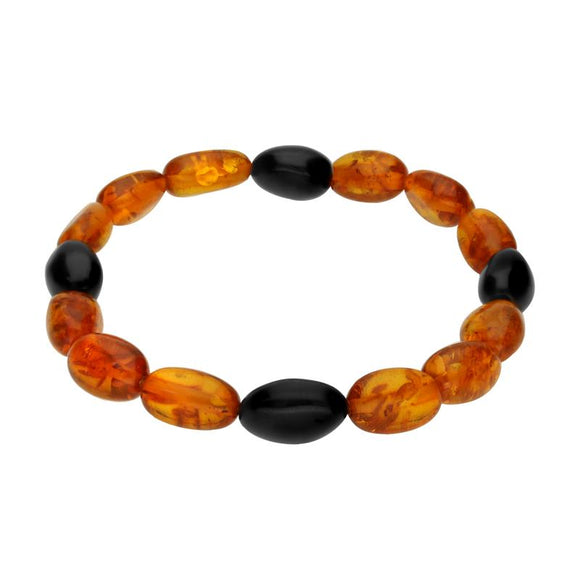 Amber Whitby Jet Beaded Elasticated Bracelet AJB