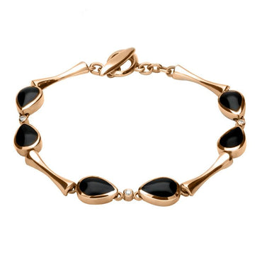 00082994 18ct Rose Gold Whitby Jet 0.09ct Diamond Six Stone Pear Bracelet, B530.