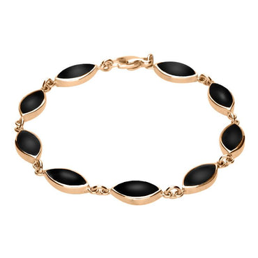 00115176 9ct Rose Gold Whitby Jet Marquise Bracelet, B184.