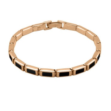 00128335 9ct Rose Gold Whitby Jet Petite Oblong Bracelet, B549.