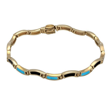00084508 9ct Yellow Gold Whitby Jet Turquoise Eighteen Stone Wavy Link Bracelet, B570.