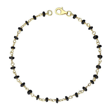00117865 W Hamond Yellow Gold Plate Whitby Jet 4mm Bead Chain Link Bracelet, B945.