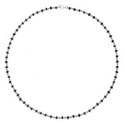 00109577 Rhodium Plate Whitby Jet 4mm Bead Chain Link Necklace, N952_18.