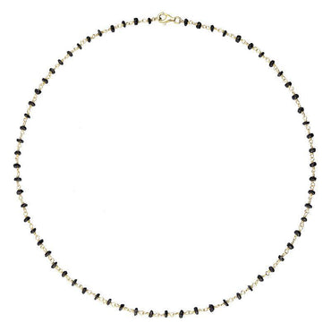 00117864 Yellow Gold Plate Whitby Jet 4mm Bead Chain Link Necklace, N952_18.
