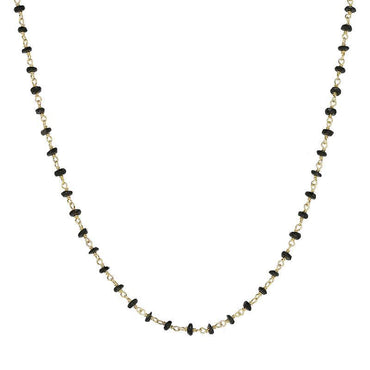 00117866 Yellow Gold Plate Whitby Jet 4mm Bead Chain Link Necklace, N952_24.