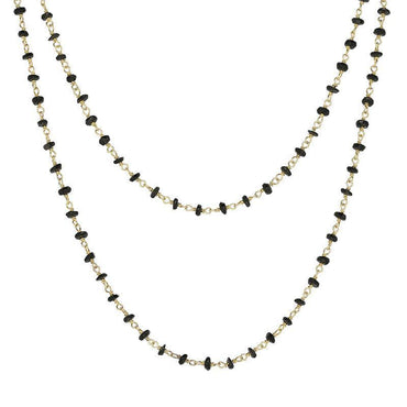 00117867 Yellow Gold Plate Whitby Jet 4mm Bead Chain Link Necklace, N952_30.