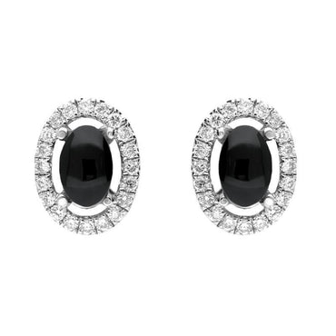 CW Sellors 18ct White Gold 0.23ct Diamond Whitby Jet Oval Stud Earrings, E1999.