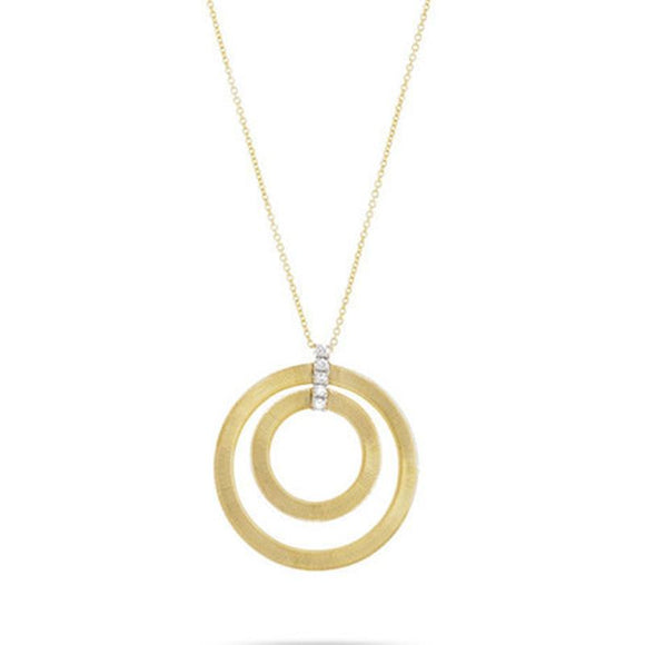 Marco Bicego Masai 18ct Yellow Gold 0.15ct Diamond Double Round Necklace