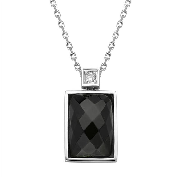 00027023 18ct White Gold Whitby Jet Diamond Faceted Oblong Necklace, JD61_.