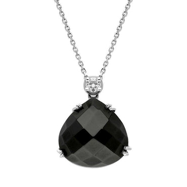 00027170 18ct White Gold Whitby Jet Diamond Faceted Pear Necklace, PUNQ0000130.
