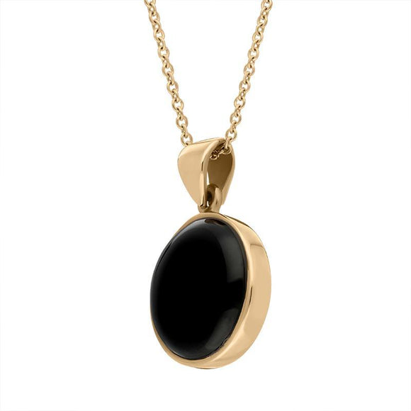 00029778  9ct Rose Gold Whitby Jet Plain Round Necklace, P1541.