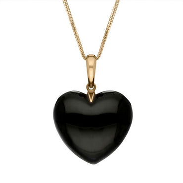 00029829  9ct Rose Gold Whitby Jet Unique Medium Carved Heart Necklace, PUNQ0002211.