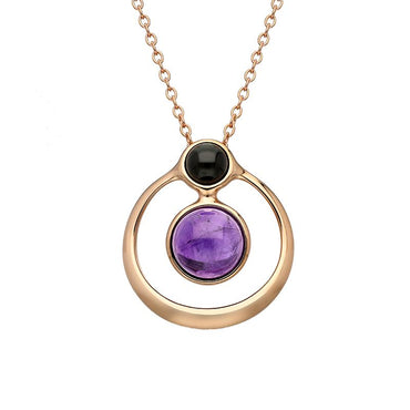 Sterling Silver Rose Gold Whitby Jet Amethyst Two Stone Open Circle Necklace