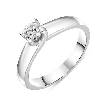 Platinum Diamond Twisted Claw Set Solitaire Ring RUNQ0000484