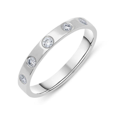 Platinum 0.22ct Diamond Set Wedding Ring CGN-097