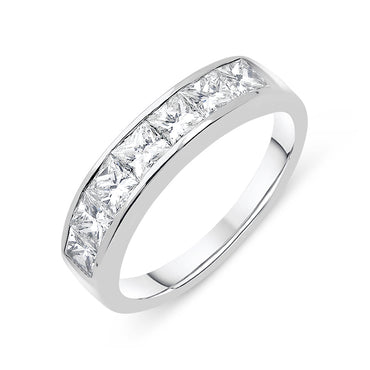 Platinum 0.70ct Diamond Princess Cut Half Eternity Ring CGN-639