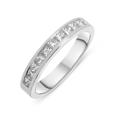 Platinum 1.00ct Diamond Princess Cut Half Eternity Ring RUNQ0000450