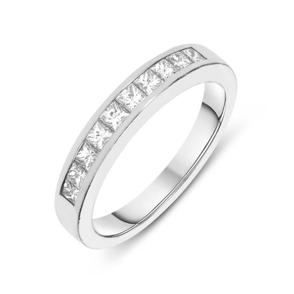 Platinum Diamond Princess Cut Half Eternity Ring DW-087