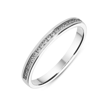 Platinum 0.14CT Diamond Half Eternity Ring FEU-1528