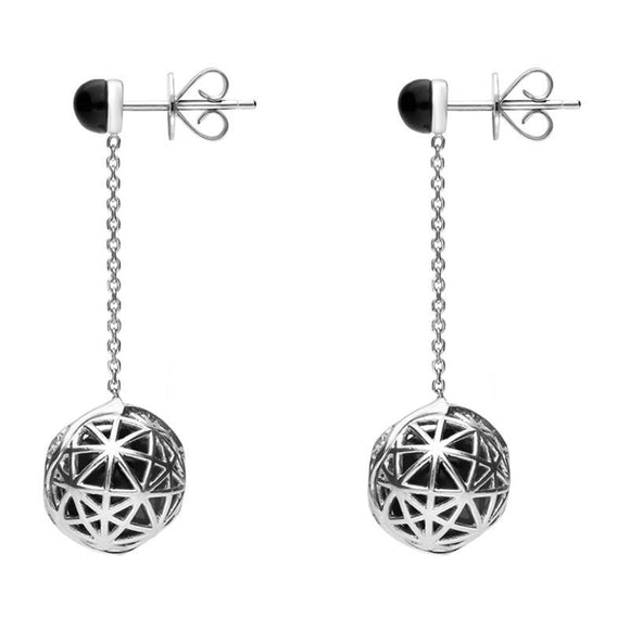 Platinum Whitby Jet Diamond Sphere Drop Earrings E1385