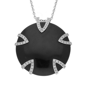 Platinum  0.59ct Diamond and Whitby Jet Five V Disc Large Necklace P1688C