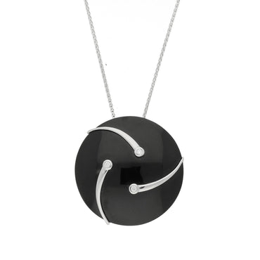 Platinum Diamond and Whitby Jet Shooting Stars Necklace P1695C