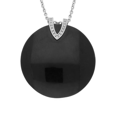 Platinum Diamond and Whitby Jet V Top Large Disc Necklace P1686C