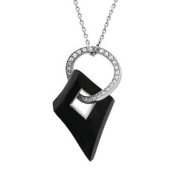 Platinum Whitby Jet 0.60ct Diamond Wavy Open Circle Rhombus Necklace PUNQ0002351