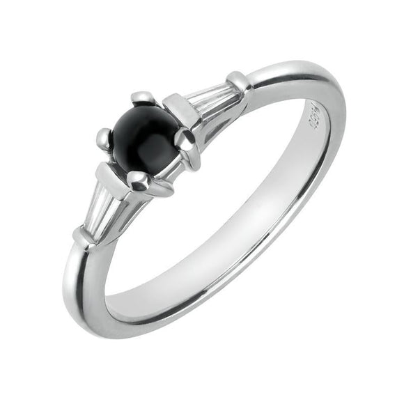 Platinum Whitby Jet 0.16ct Diamond Claw Set Ring, FM123.