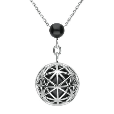 Platinum Whitby Jet Diamond Sphere Cage Necklace P1831C
