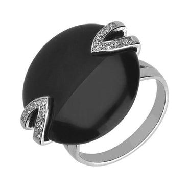 00001750 C W Sellors Platinum Whitby Jet And Diamond Brilliant Double V Stone Disc Ring R537