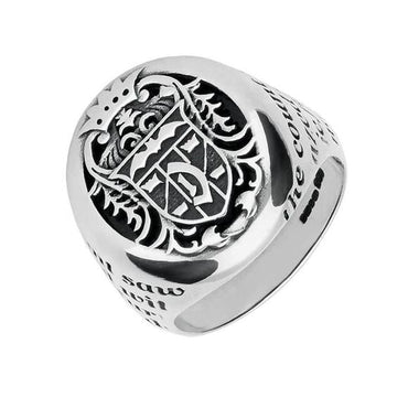 Sterling Silver Whitby Jet Dracula Crest Replica Signet Ring. R622.