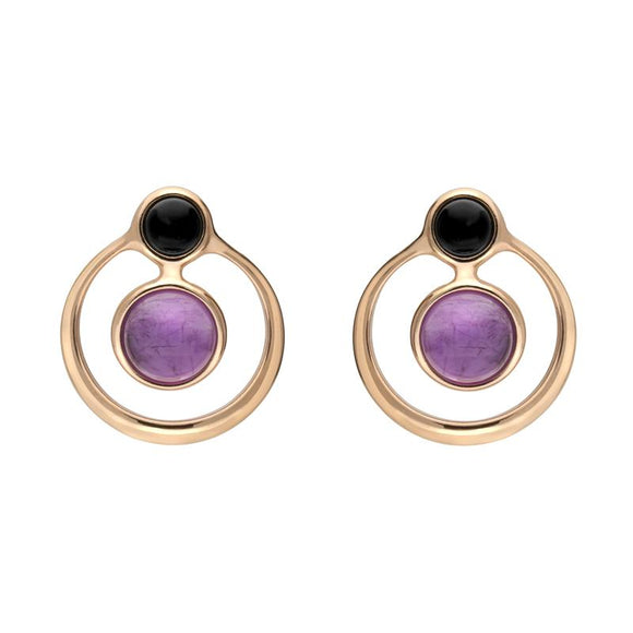 Rose Gold Whitby Jet Amethyst Open Circle Stud Earrings E2495
