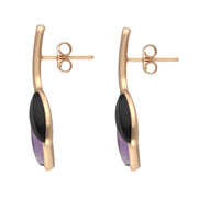 Rose Gold Whitby Jet Amethyst Two Leaf Drop Stud Earrings E2433