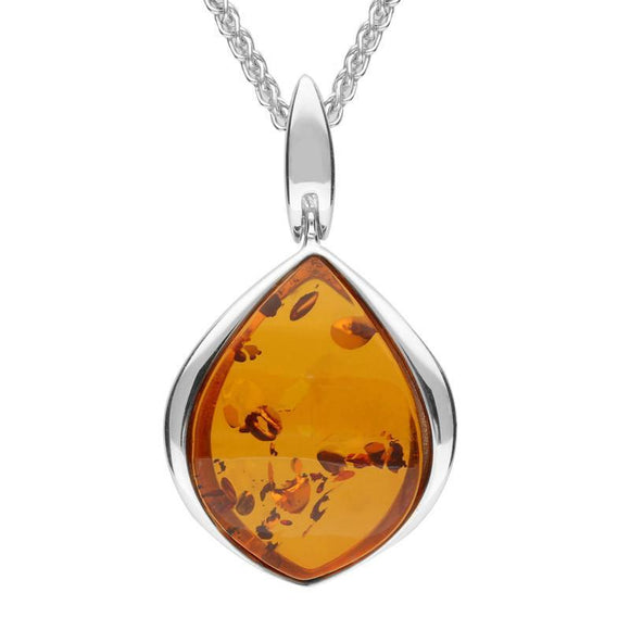 SILVER AND AMBER CURVED PEAR DROP NECKLACE