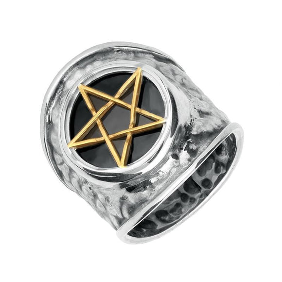Silver Gold Plate Whitby Jet Pentagram Hammered Effect Shank Ring RUNQ0001263