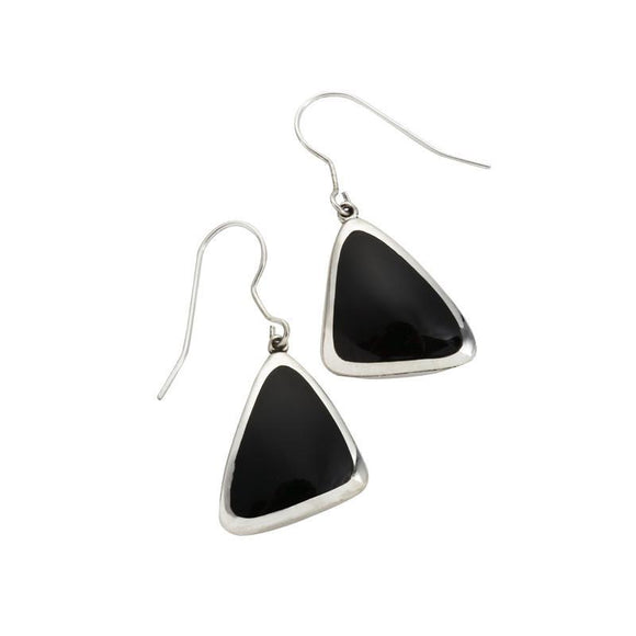 Silver Whitby Jet Abstract Triangle Hook Drop Earrings E1281