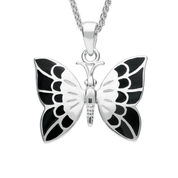 Silver Whitby Jet Butterfly Necklace P2599