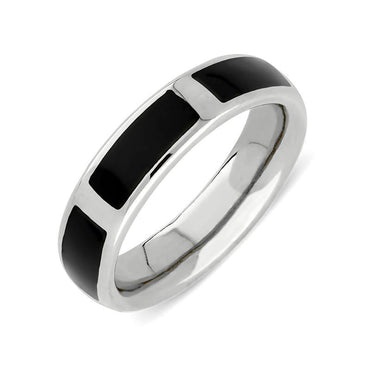 Silver Whitby Jet Gap 6mm Wedding Band. R586.