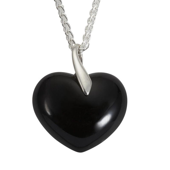 Silver Whitby Jet Large Bail Heart Necklace P2031