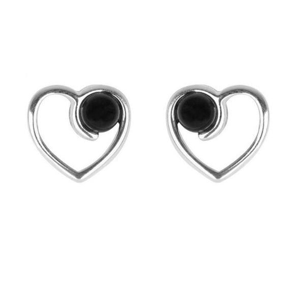 Silver Whitby Jet Open Heart Bead Stud Earrings E1802