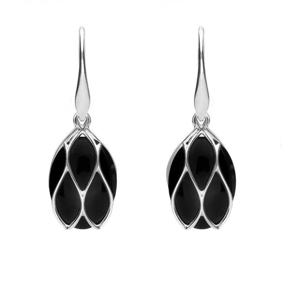 Silver Whitby Jet Oval Caged Drop Earrings E2124
