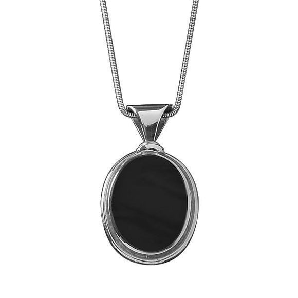 Silver Whitby Jet Oval Large Necklace P130