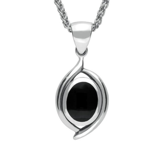 Silver Whitby Jet Oval Necklace P1584