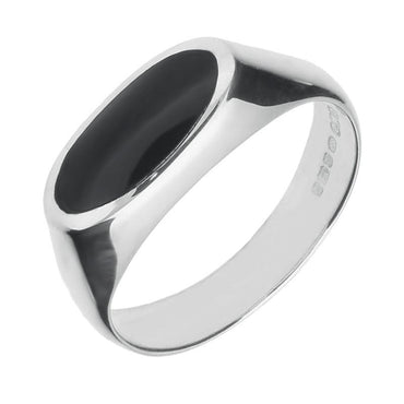 Silver Whitby Jet Oval Signet Ring R031
