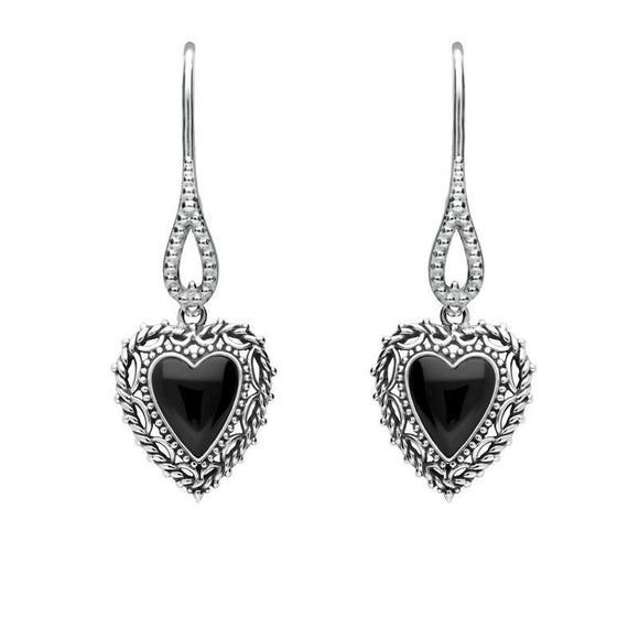 Silver Whitby Jet Oxi Heart Drop Earrings E1924